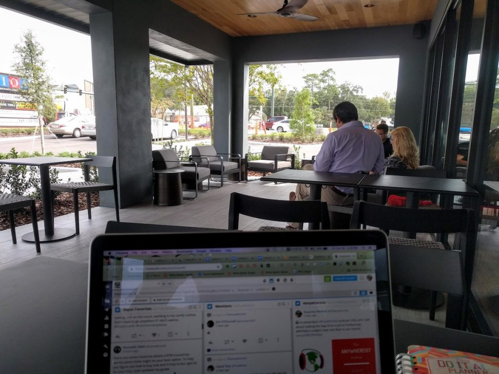 working on the terrace of the cafe